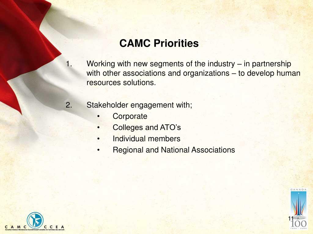 CAMC Priorities