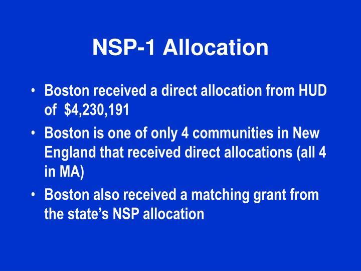 NSP-1 Allocation