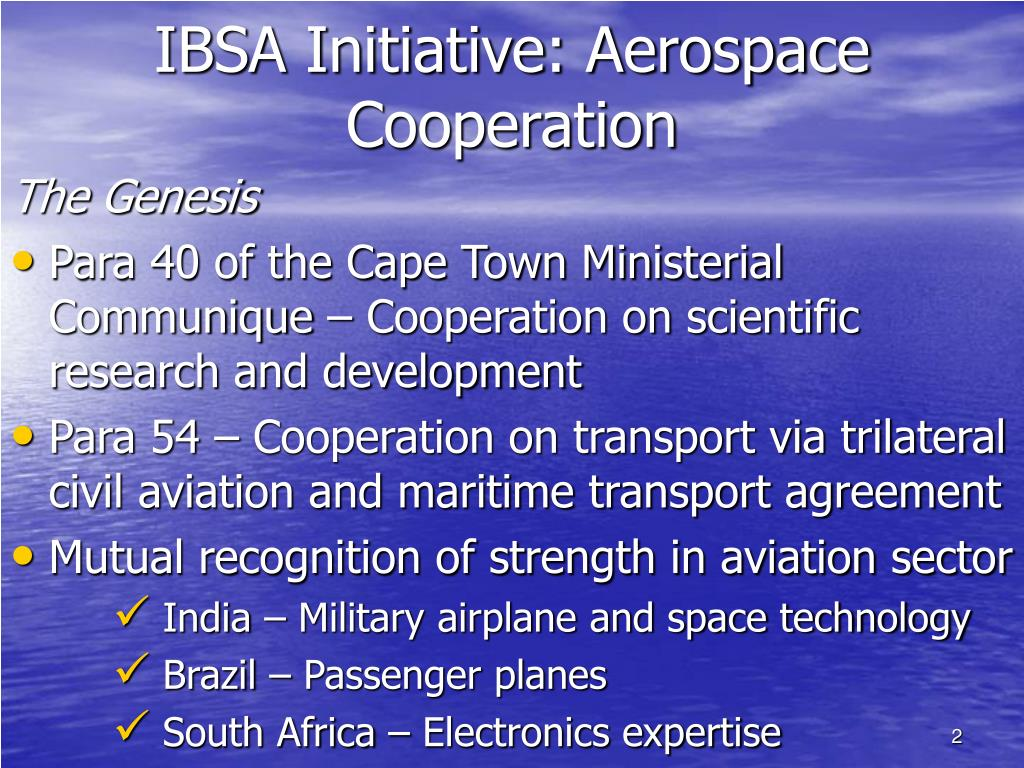 IBSA Initiative: Aerospace Cooperation