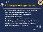 ae compliance inspection ci