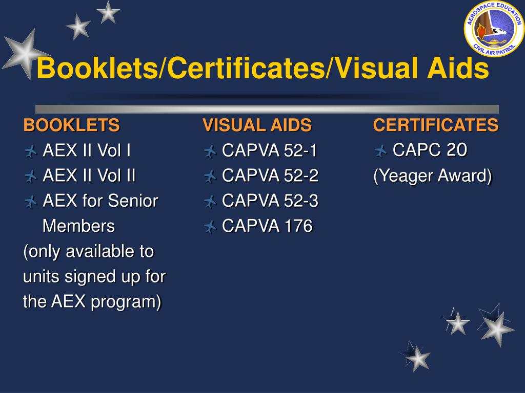 Booklets/Certificates/Visual Aids