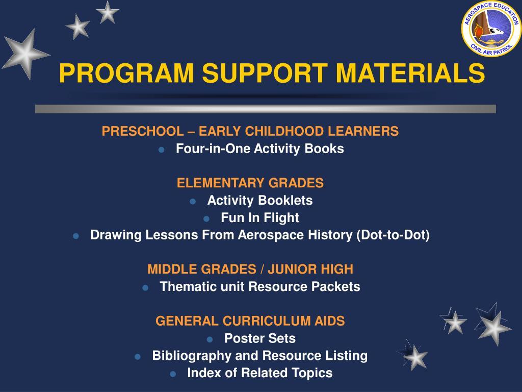 PROGRAM SUPPORT MATERIALS