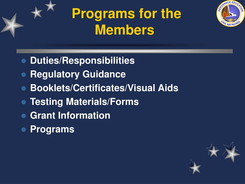 Programs for the Members
