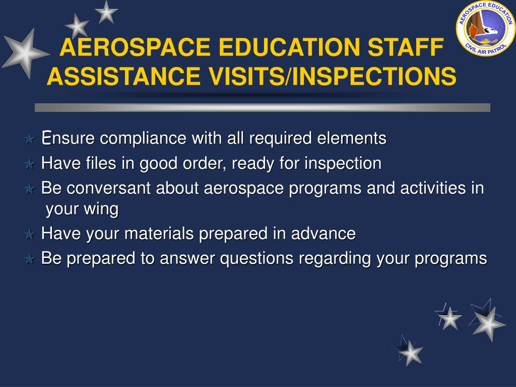 AEROSPACE EDUCATION STAFF ASSISTANCE VISITS/INSPECTIONS
