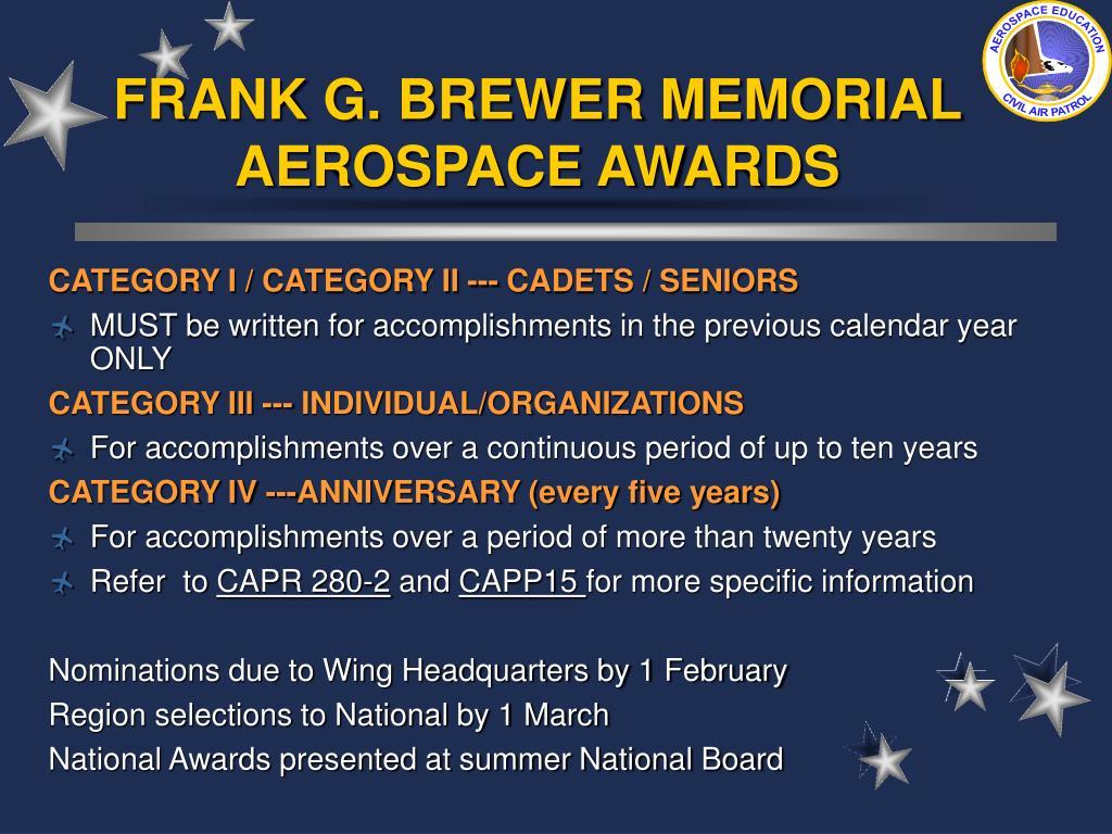 FRANK G. BREWER MEMORIAL AEROSPACE AWARDS