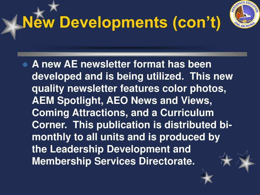 New Developments (con't)