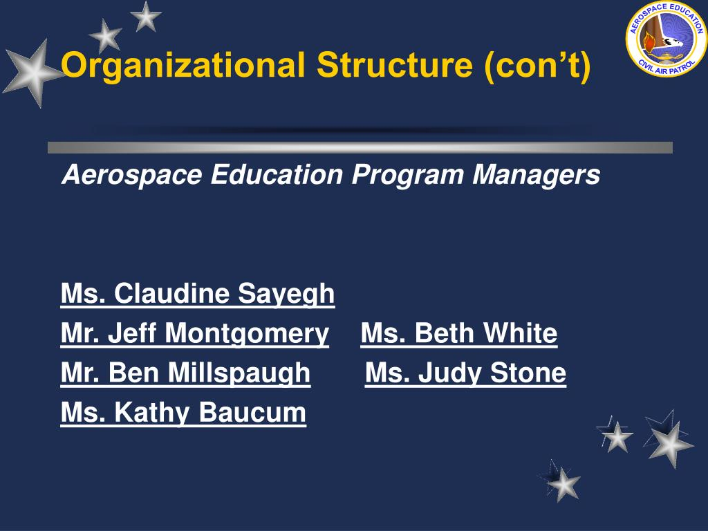 Organizational Structure (con't)