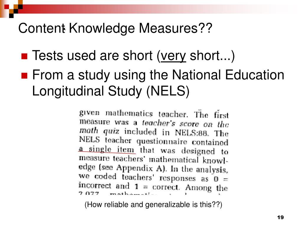 Content Knowledge Measures??
