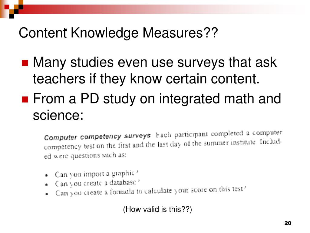 Content Knowledge Measures??