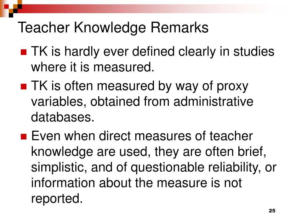 Teacher Knowledge Remarks