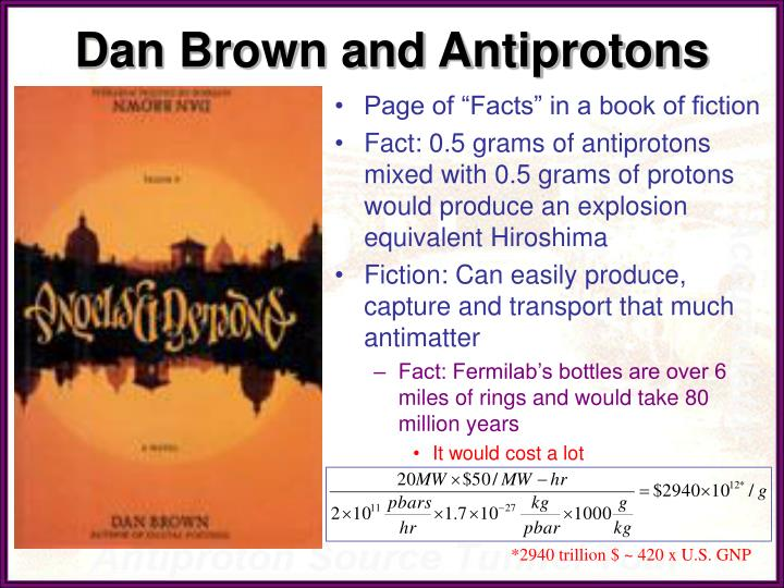 Dan Brown and Antiprotons