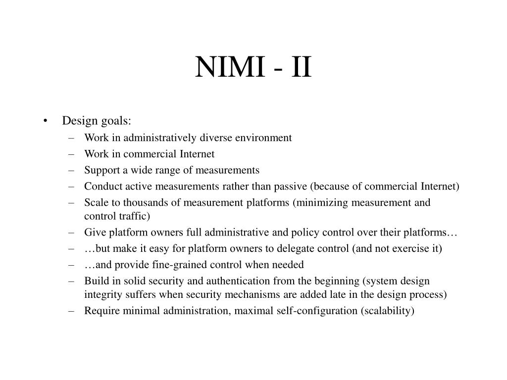 NIMI - II