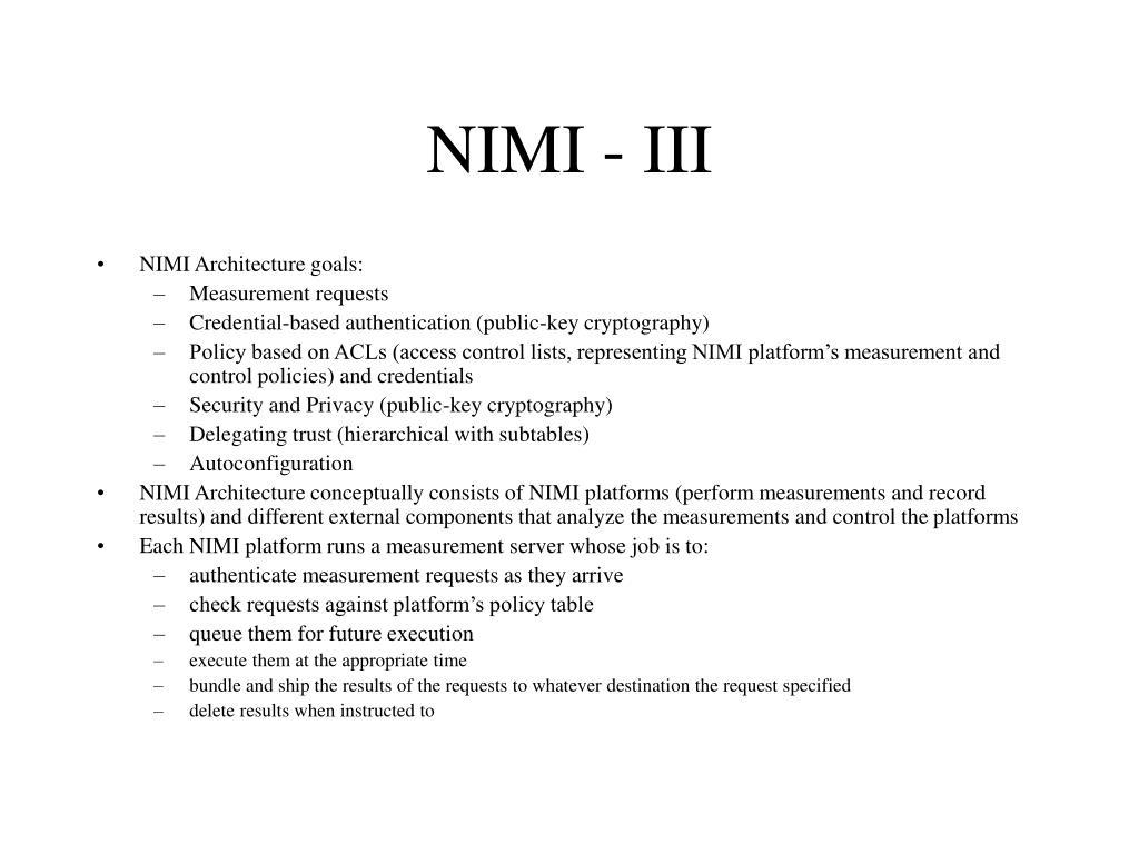 NIMI - III