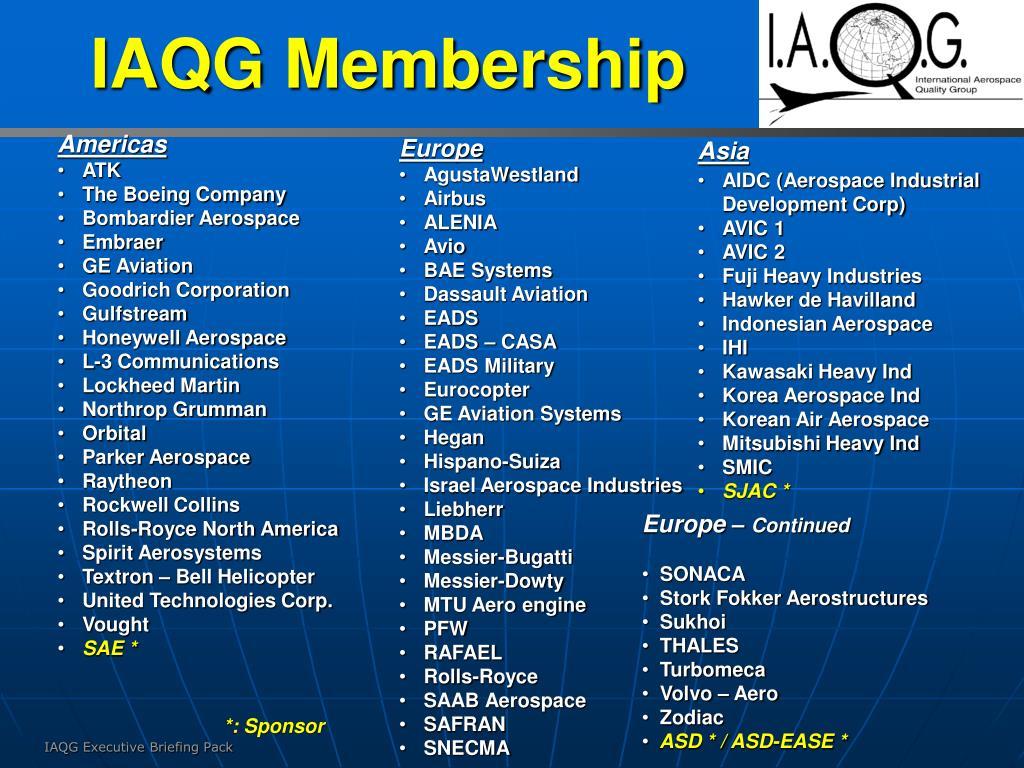 IAQG Membership