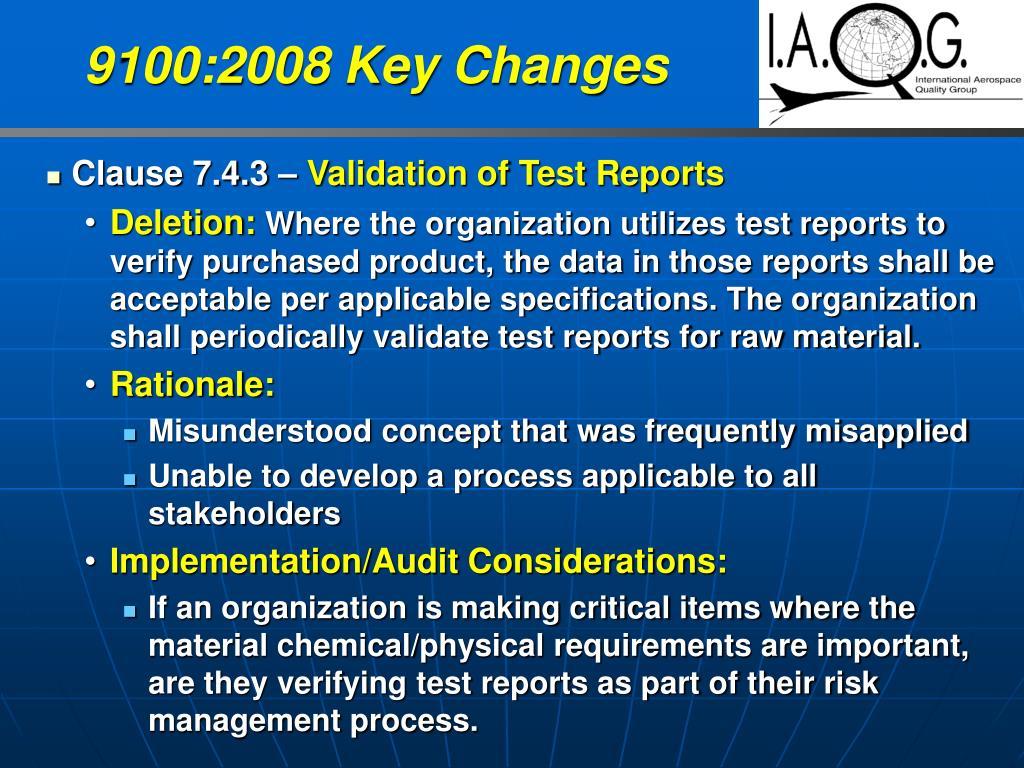 9100:2008 Key Changes