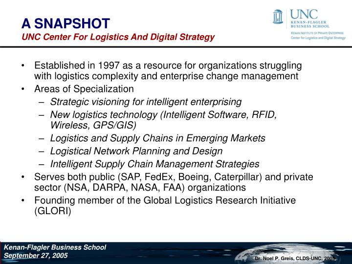 A snapshot unc center for logistics and digital strategy