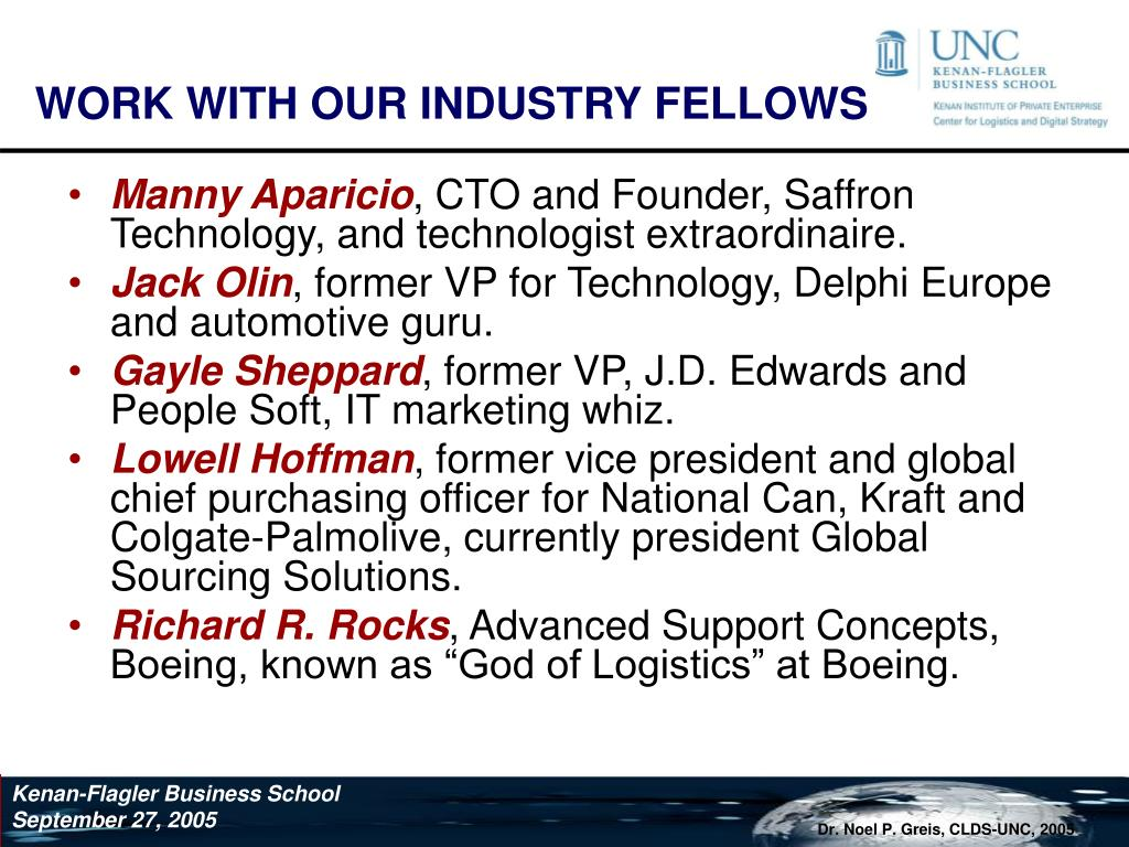 WORK WITH OUR INDUSTRY FELLOWS