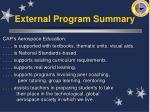 external program summary