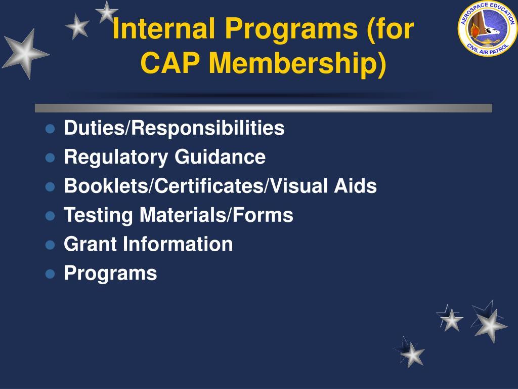 Internal Programs (for CAP Membership)