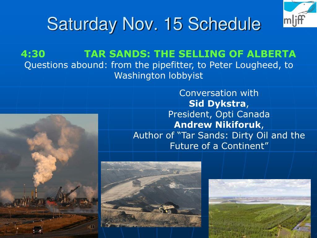 Saturday Nov. 15 Schedule