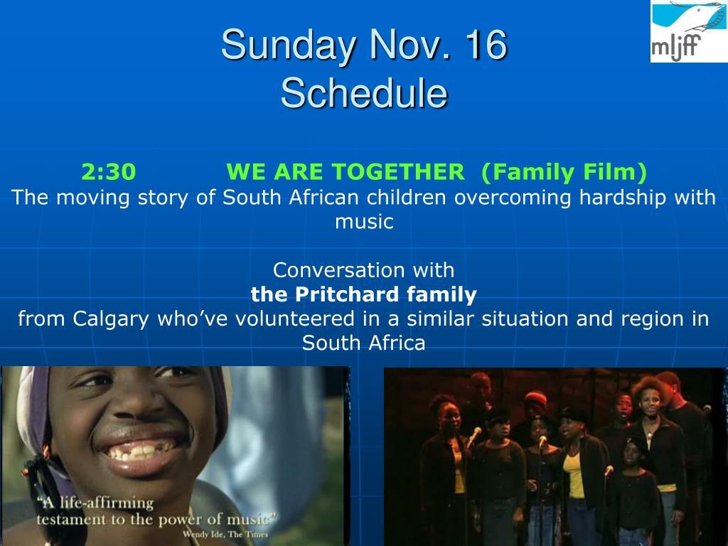 Sunday Nov. 16
