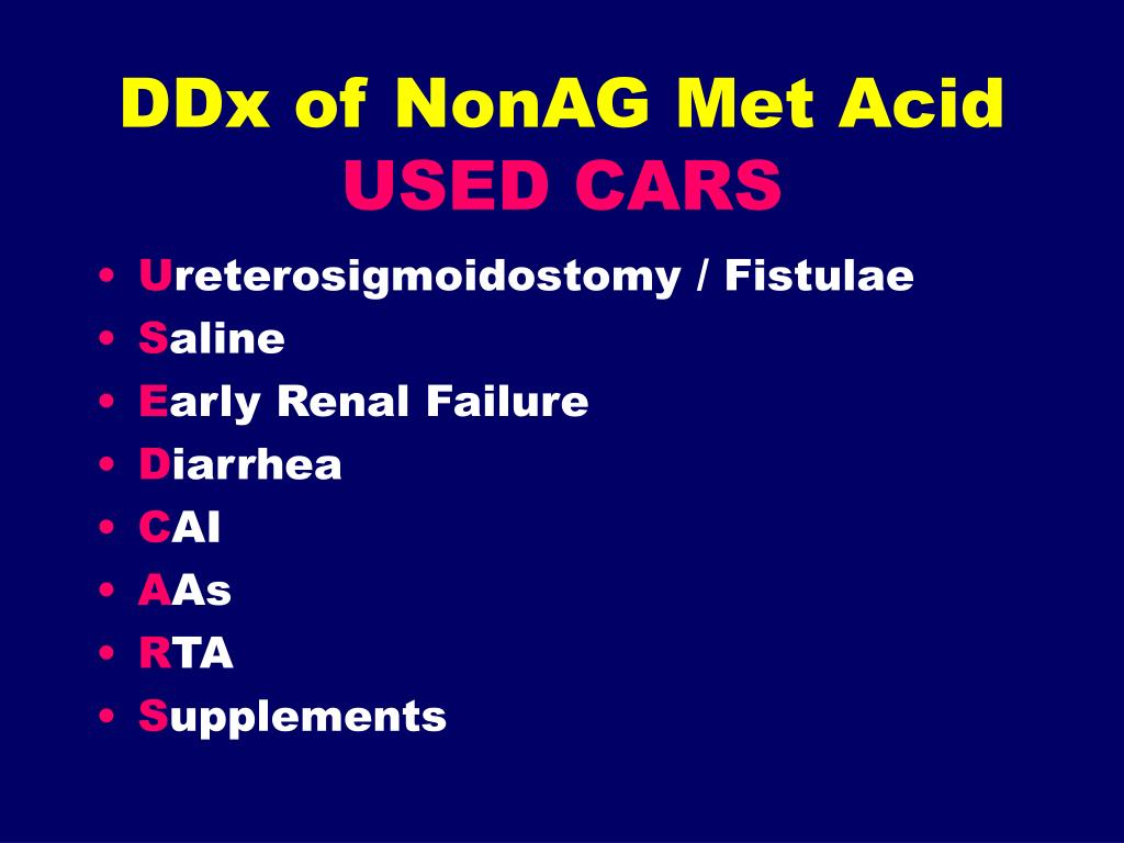 DDx of NonAG Met Acid