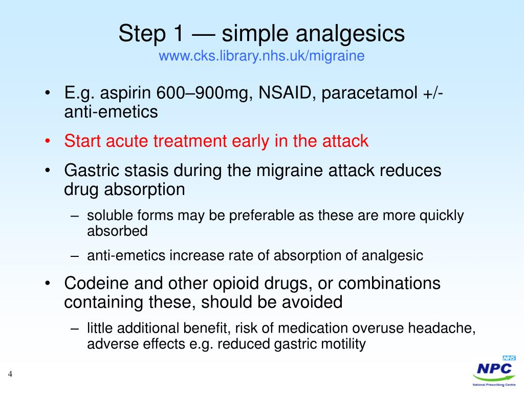 Step 1 — simple analgesics