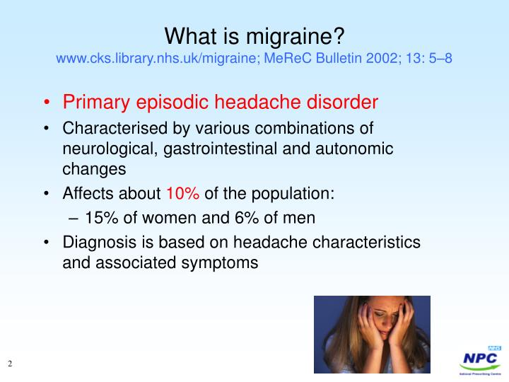 What is migraine www cks library nhs uk migraine merec bulletin 2002 13 5 8