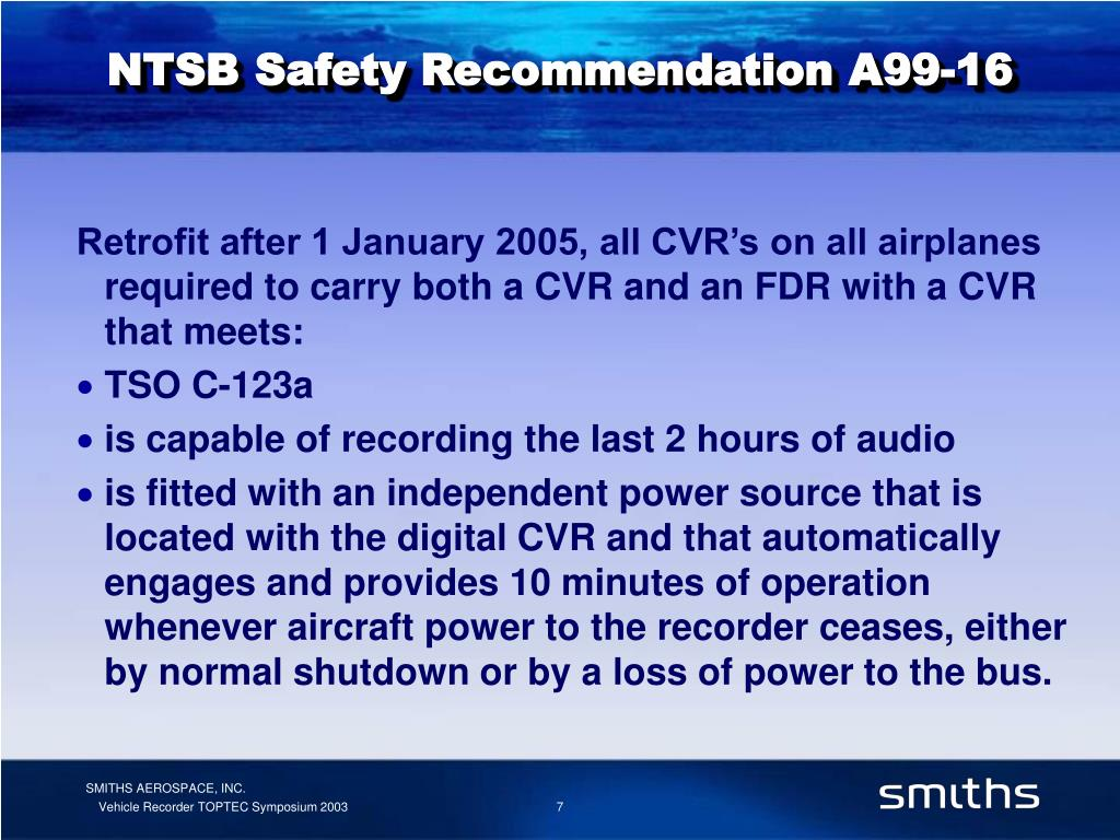 NTSB Safety Recommendation A99-16