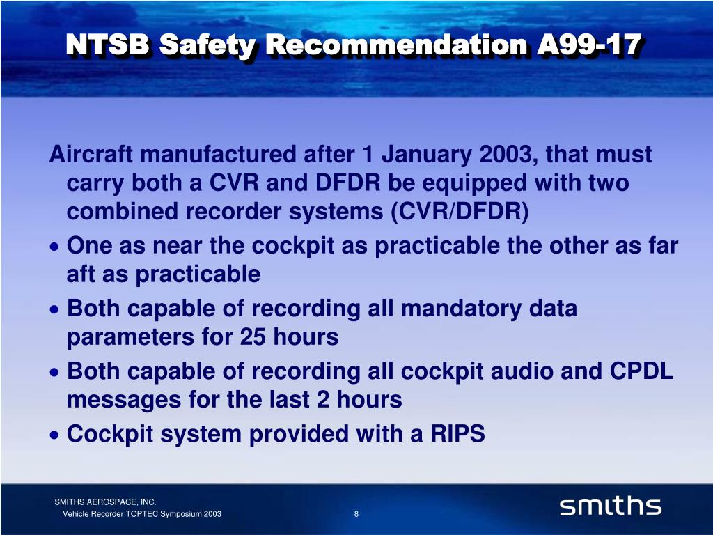NTSB Safety Recommendation A99-17