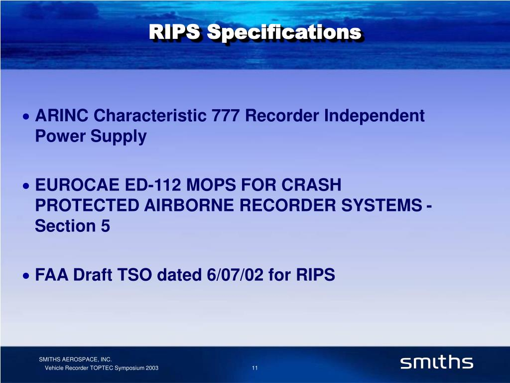RIPS Specifications