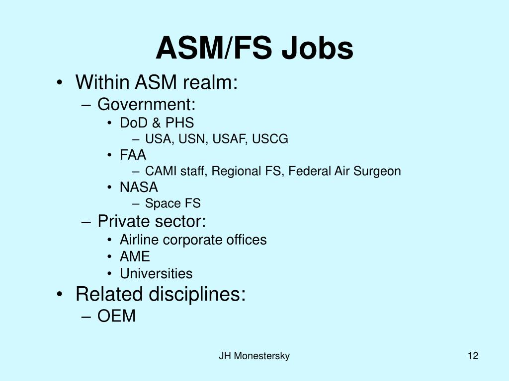 ASM/FS Jobs