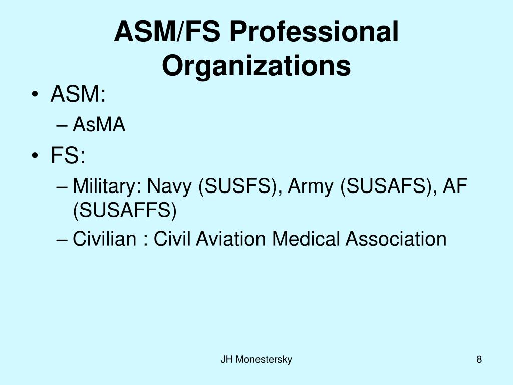ASM/FS Professional Organizations