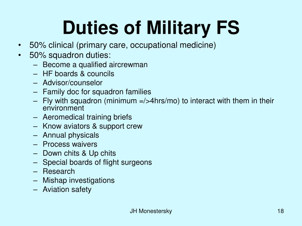 Duties of Military FS