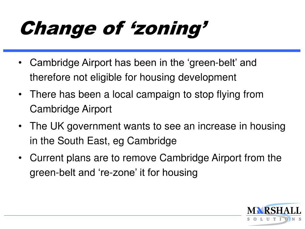 Change of 'zoning'