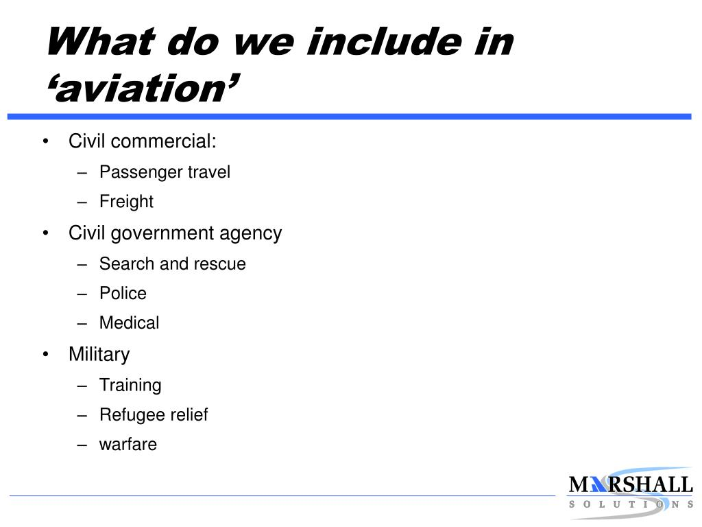 What do we include in 'aviation'