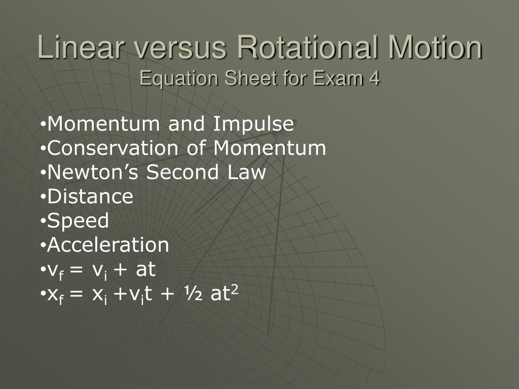 Linear versus Rotational Motion