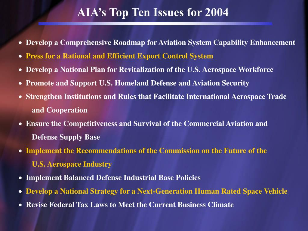 AIA's Top Ten Issues for 2004