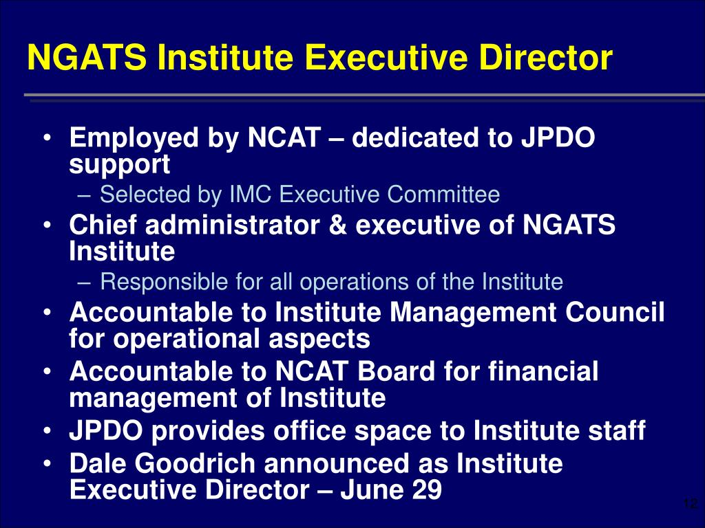 NGATS Institute Executive Director