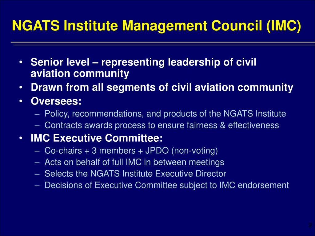 NGATS Institute Management Council (IMC)