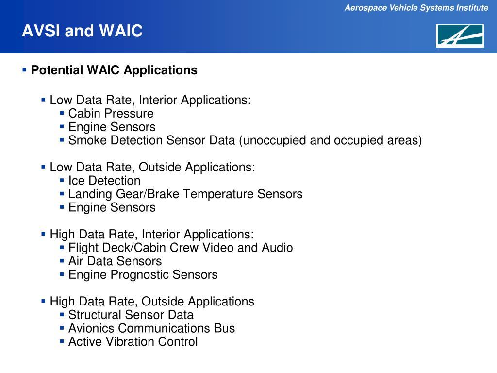 AVSI and WAIC