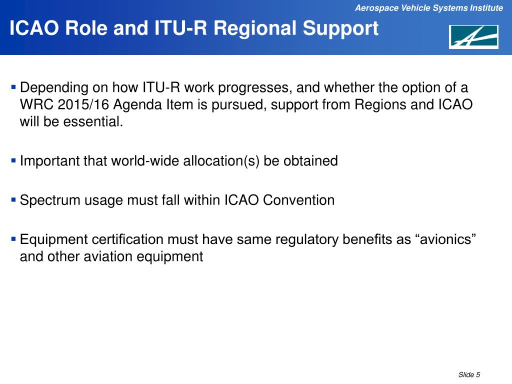 ICAO Role and ITU-R Regional Support
