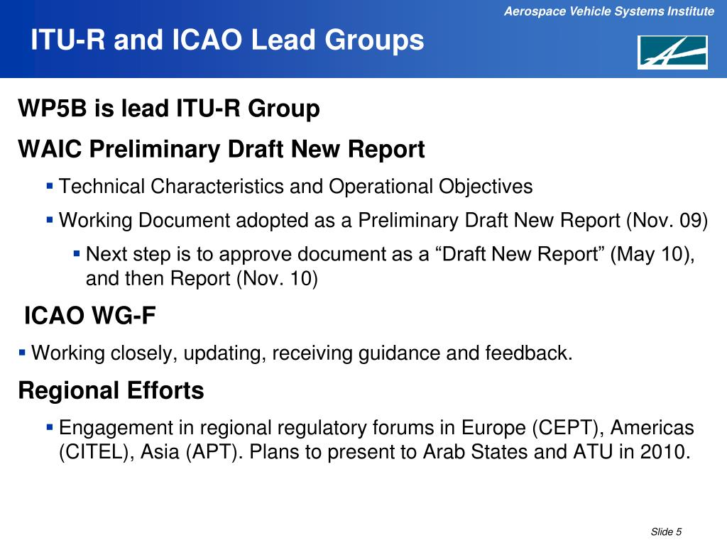 ITU-R and ICAO Lead Groups