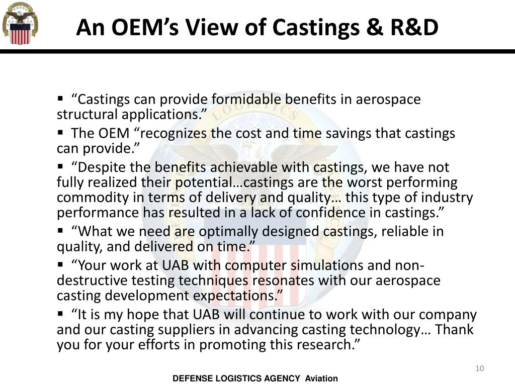 An OEM's View of Castings & R&D