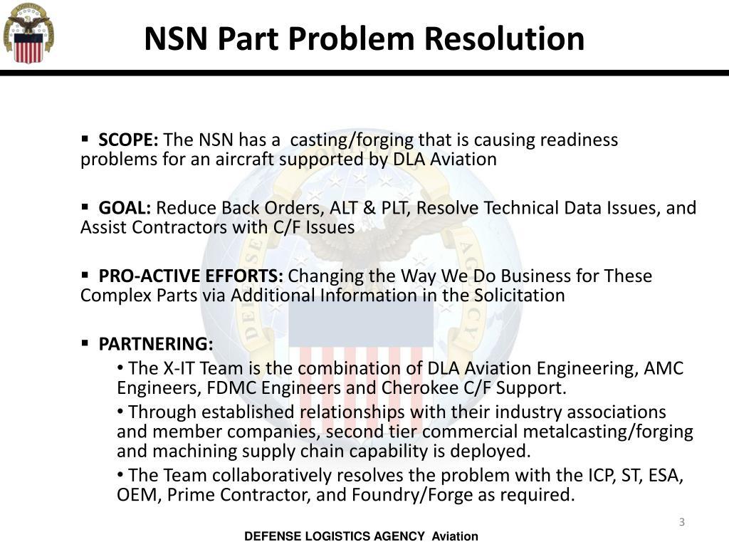 NSN Part Problem Resolution