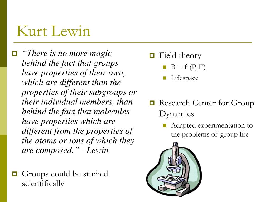 """There is no more magic behind the fact that groups have properties of their own, which are different than the properties of their subgroups or their individual members, than behind the fact that molecules have properties which are different from the properties of the atoms or ions of which they are composed.""  -Lewin"