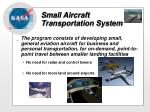 small aircraft transportation system