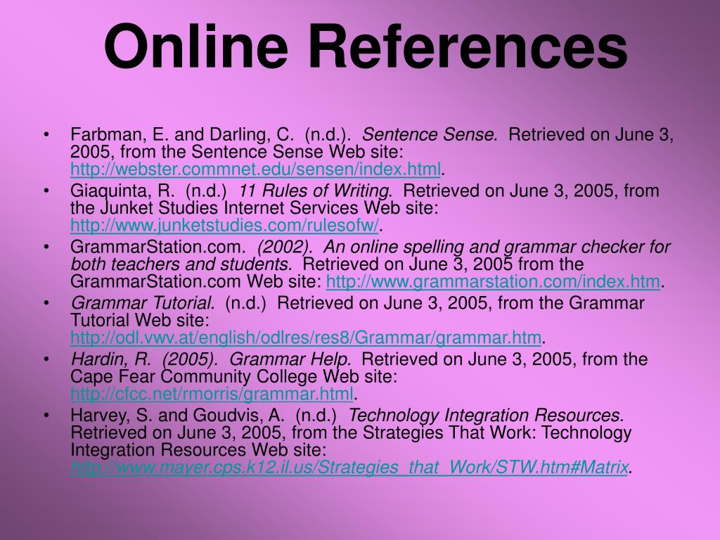 Online References