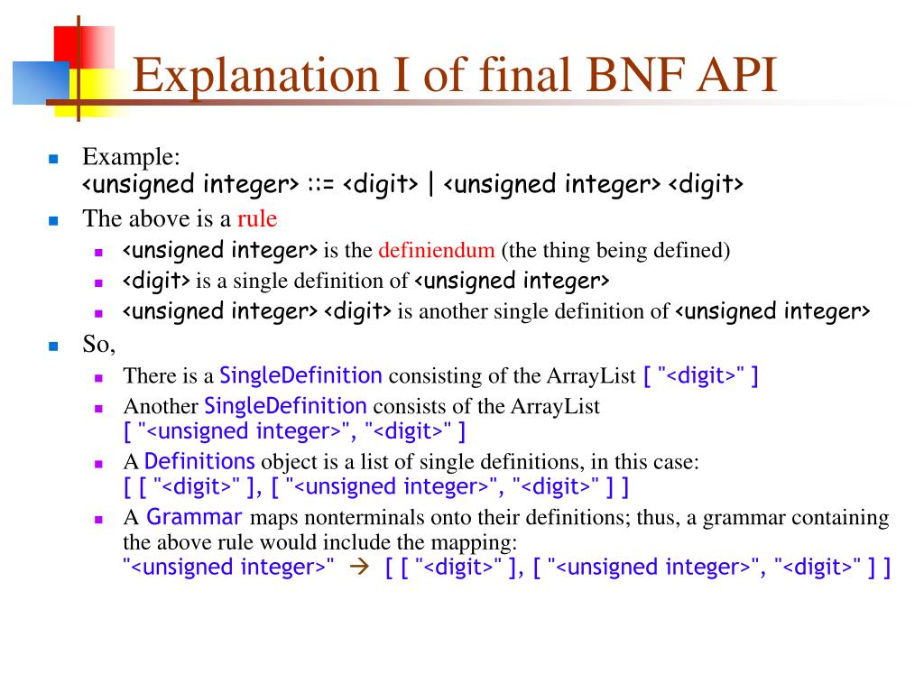 Explanation I of final BNF API