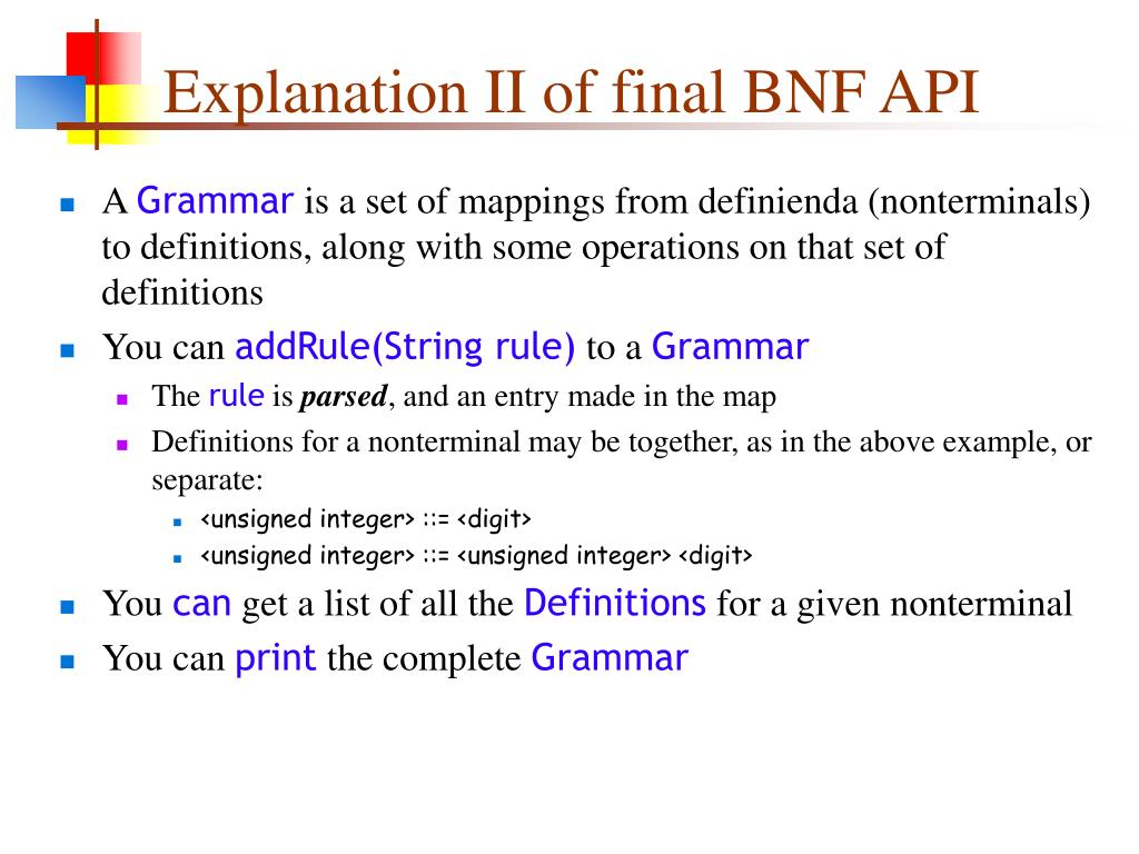 Explanation II of final BNF API